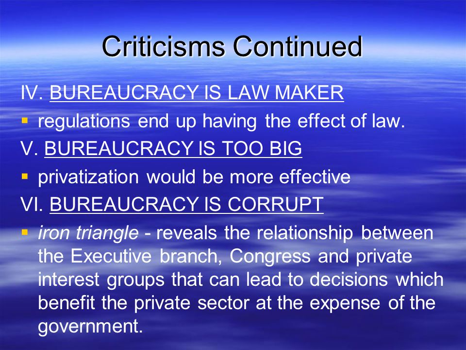Criticisms Continued IV. BUREAUCRACY IS LAW MAKER