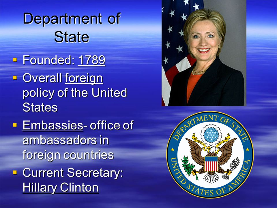 Department of State Founded: 1789
