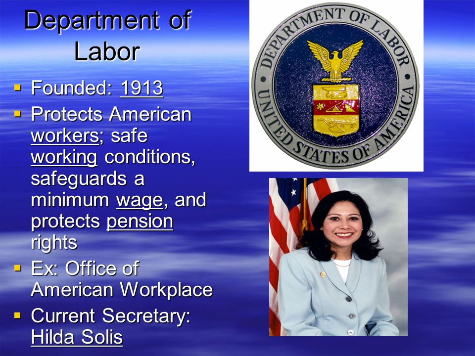 Department of Labor Founded: 1913
