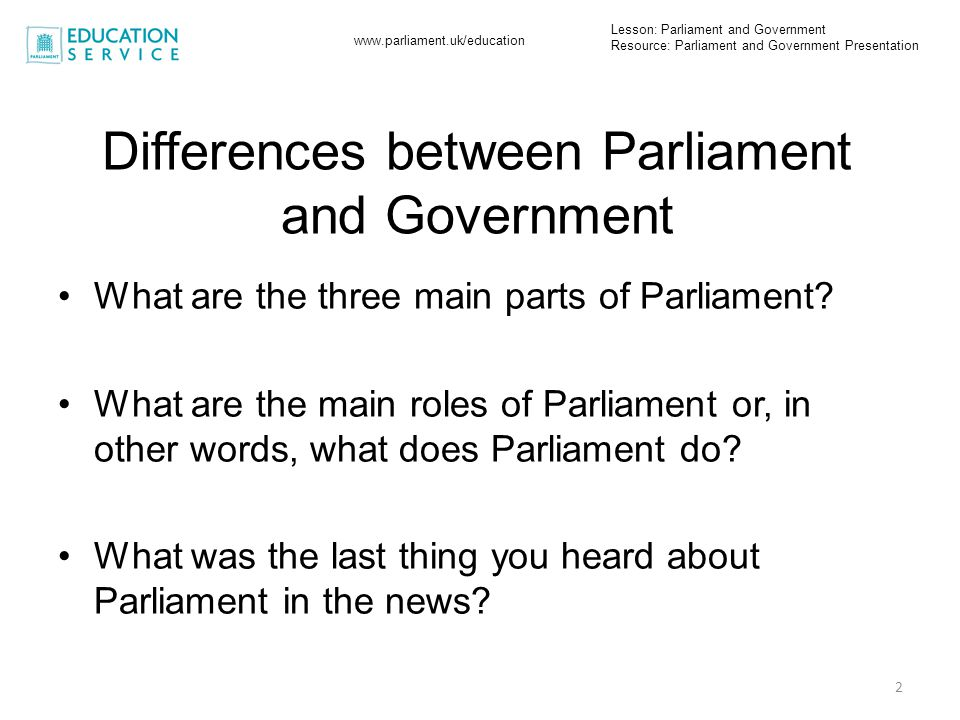 Differences between Parliament and Government