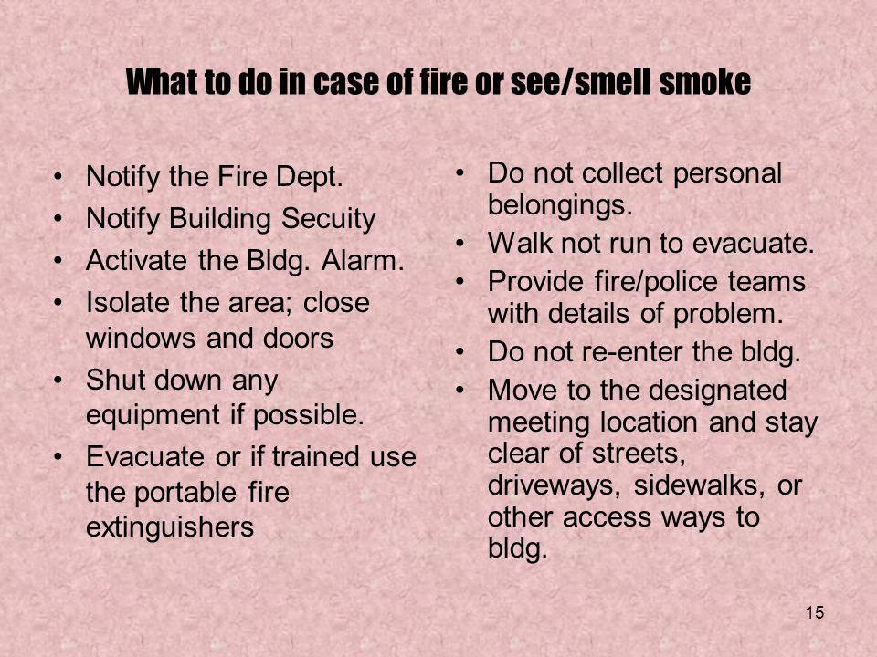 What to do in case of fire or see/smell smoke