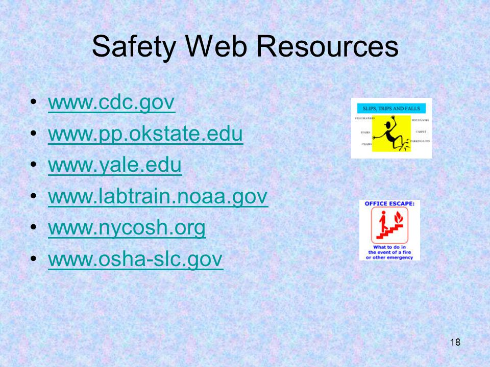 Safety Web Resources www.cdc.gov www.pp.okstate.edu www.yale.edu