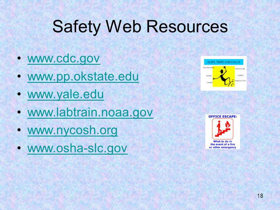 Safety Web Resources www.cdc.gov www.pp.okstate.edu www.yale.edu
