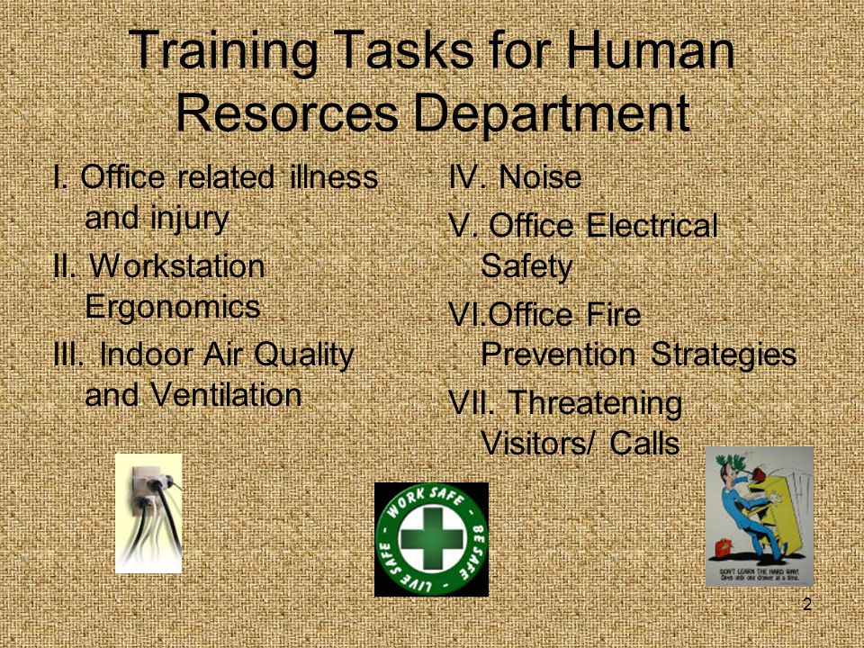 Training Tasks for Human Resorces Department