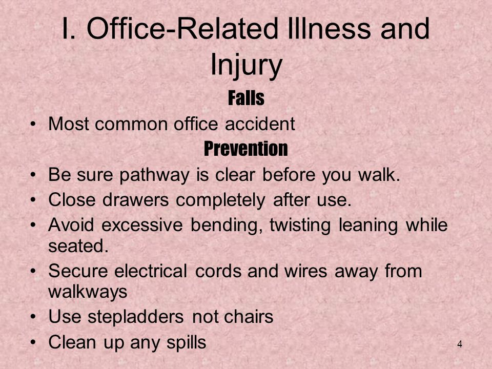 I. Office-Related Illness and Injury