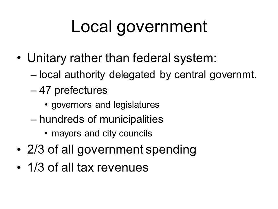 Local government Unitary rather than federal system: