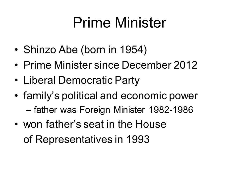 Prime Minister Shinzo Abe (born in 1954)