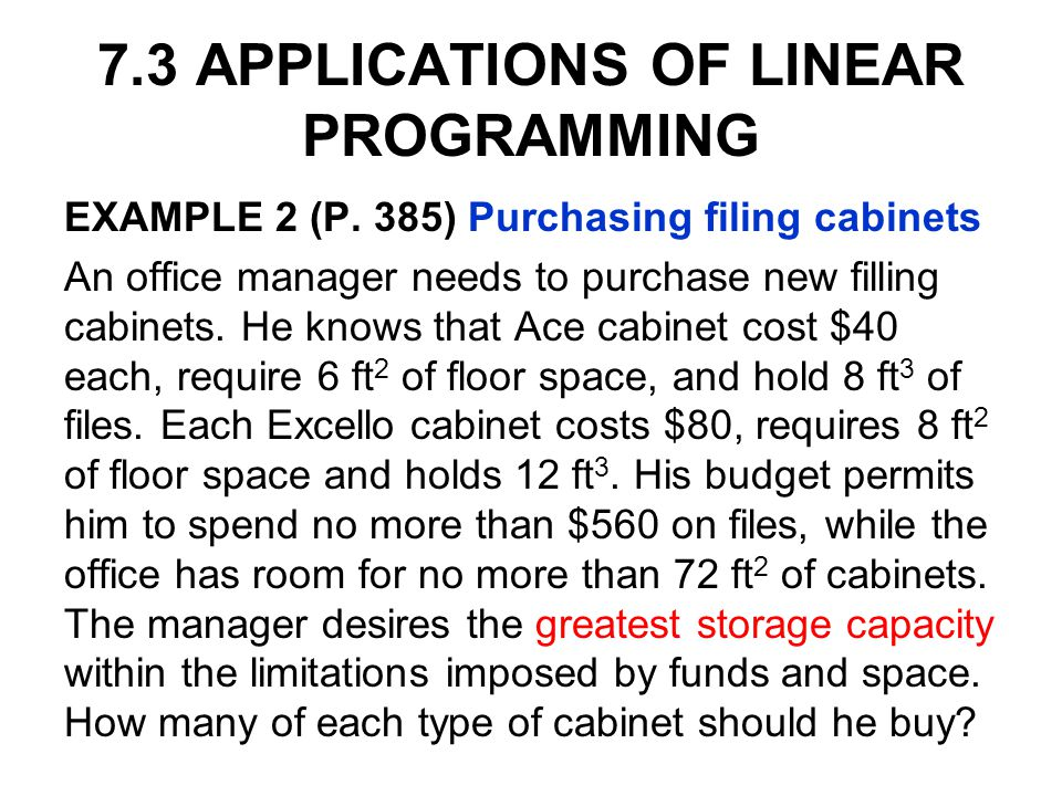 7.3 APPLICATIONS OF LINEAR PROGRAMMING