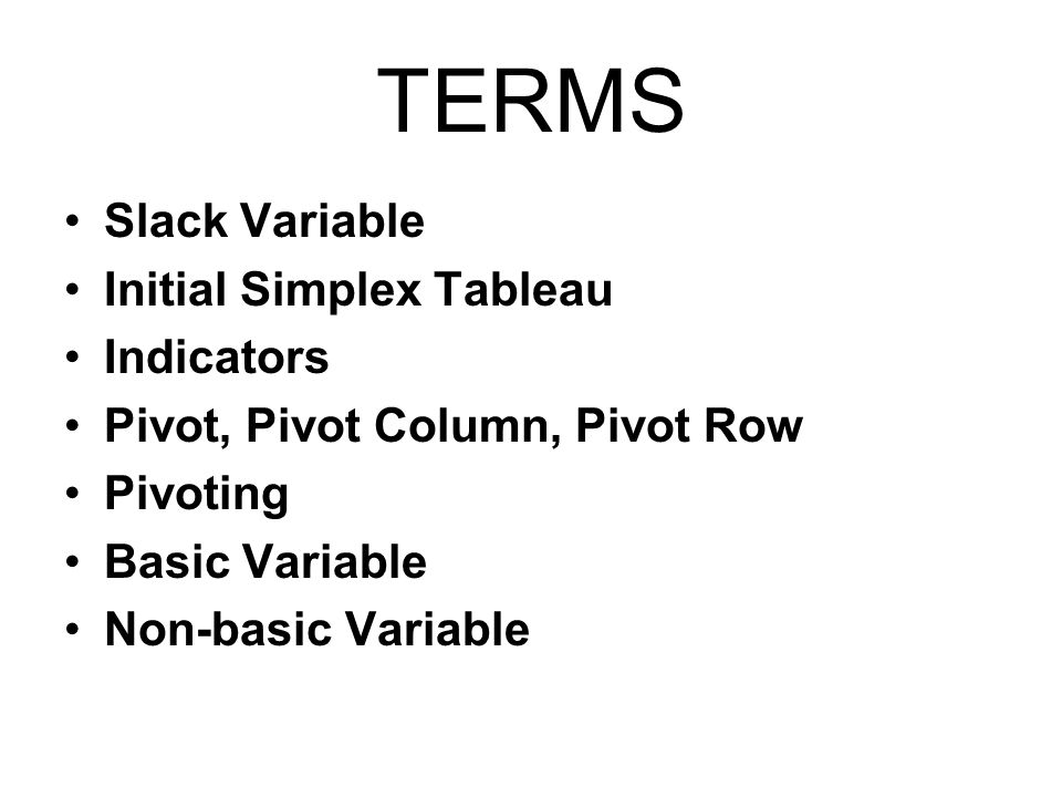TERMS Slack Variable Initial Simplex Tableau Indicators