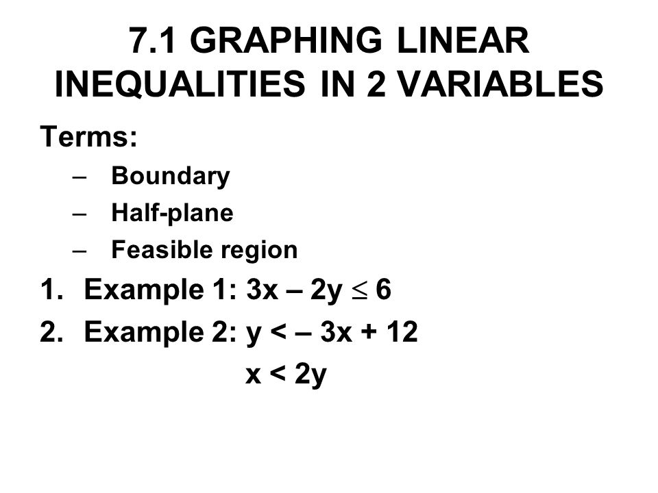 7.1 GRAPHING LINEAR INEQUALITIES IN 2 VARIABLES