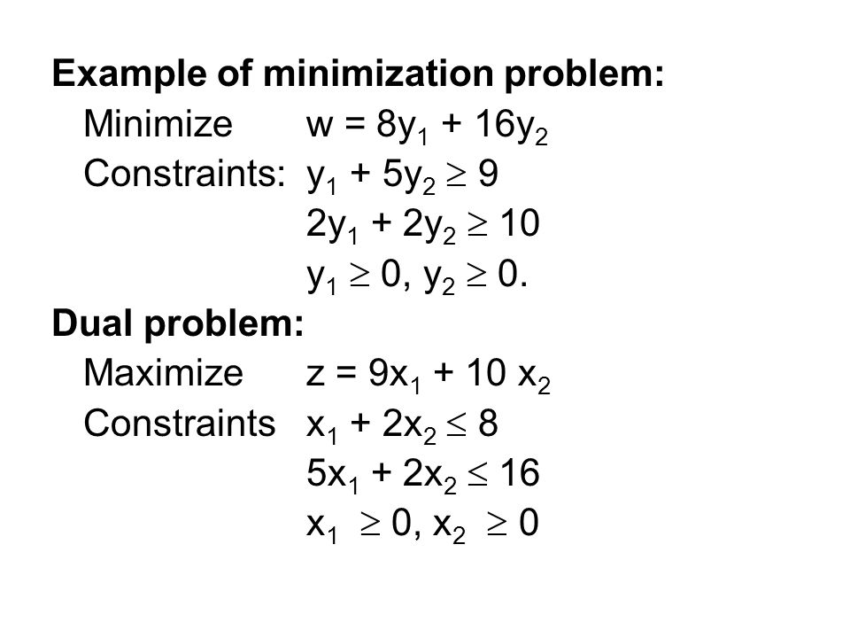 Example of minimization problem: