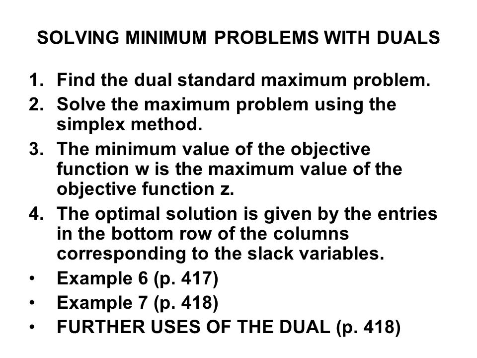 SOLVING MINIMUM PROBLEMS WITH DUALS