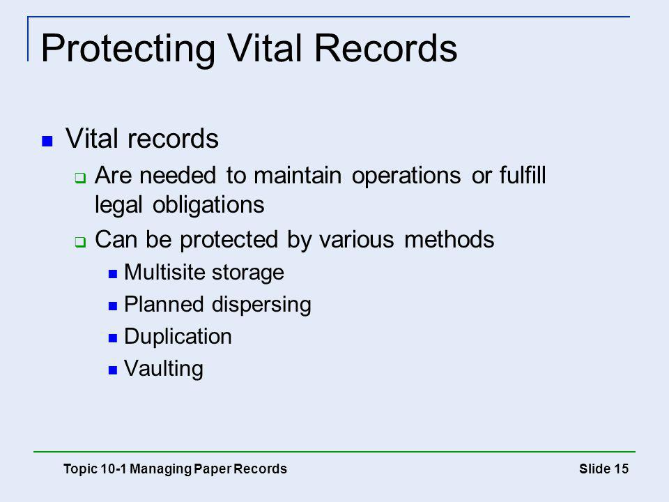 Protecting Vital Records