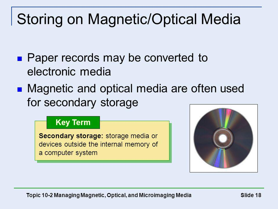Storing on Magnetic/Optical Media