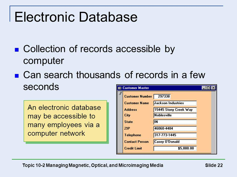 Electronic Database Collection of records accessible by computer