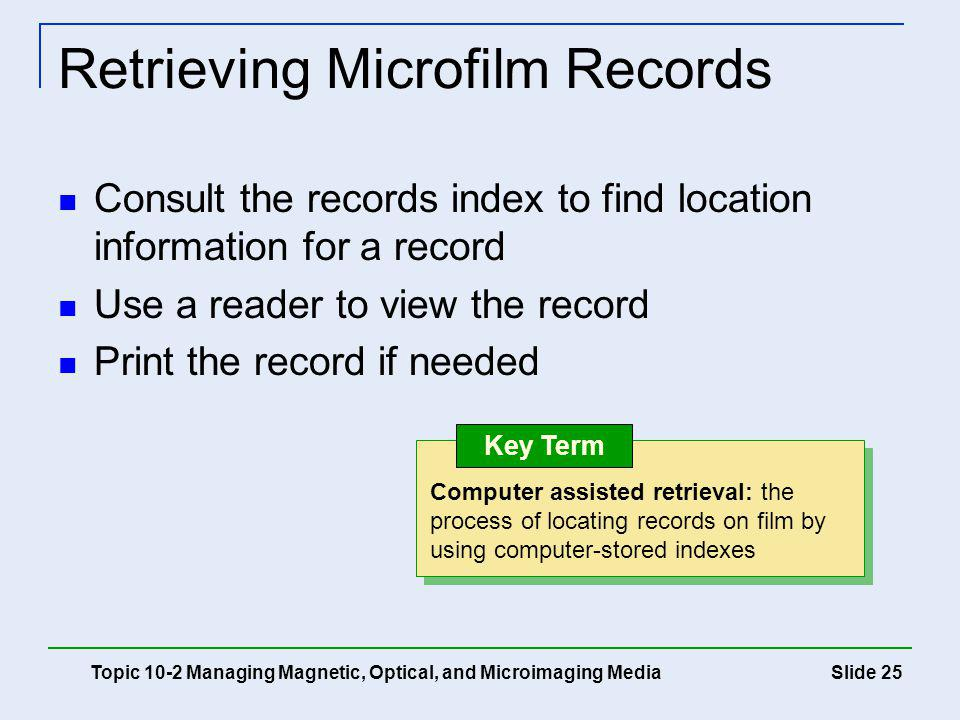 Retrieving Microfilm Records