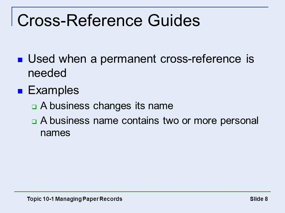 Cross-Reference Guides