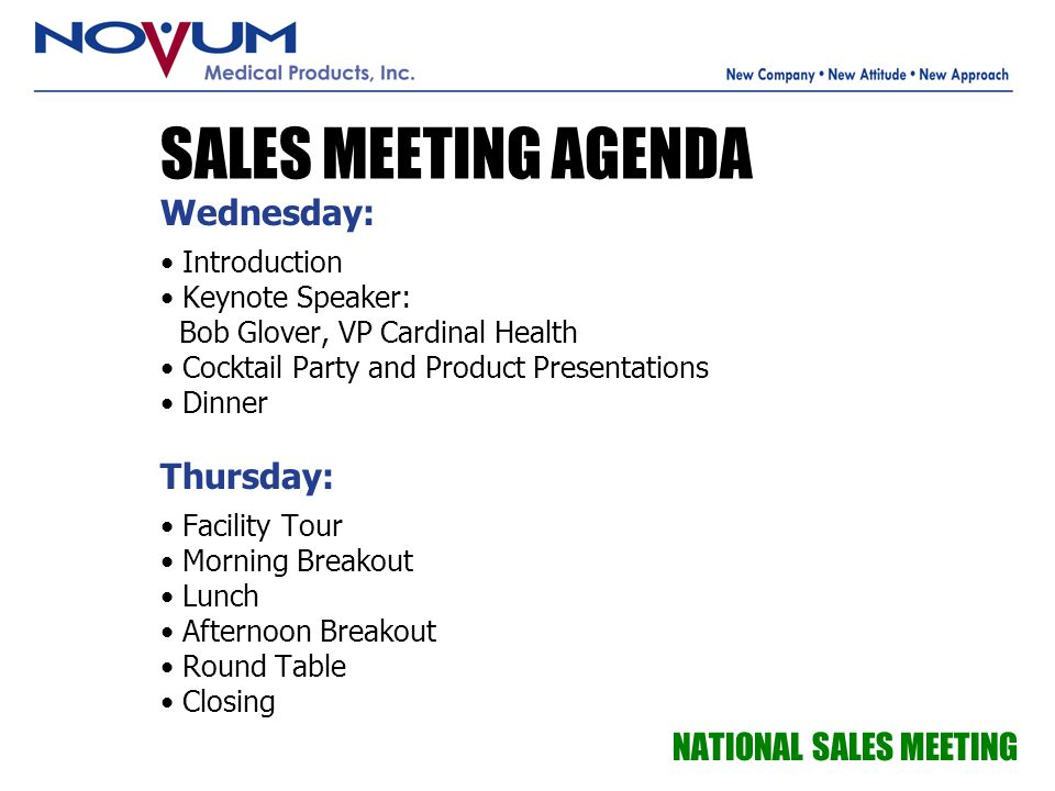 SALES MEETING AGENDA Wednesday: Thursday: NATIONAL SALES MEETING