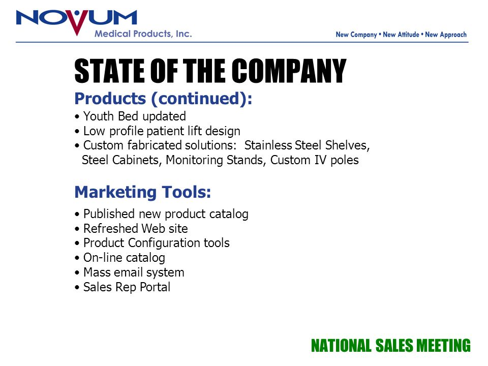 STATE OF THE COMPANY Products (continued): Marketing Tools: