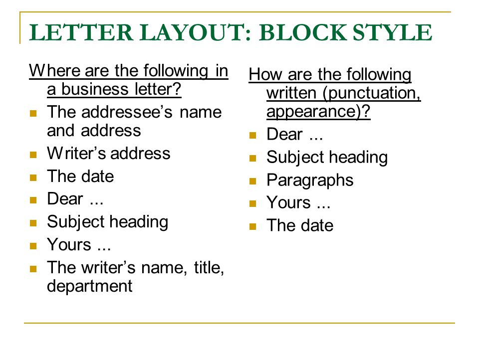 LETTER LAYOUT: BLOCK STYLE