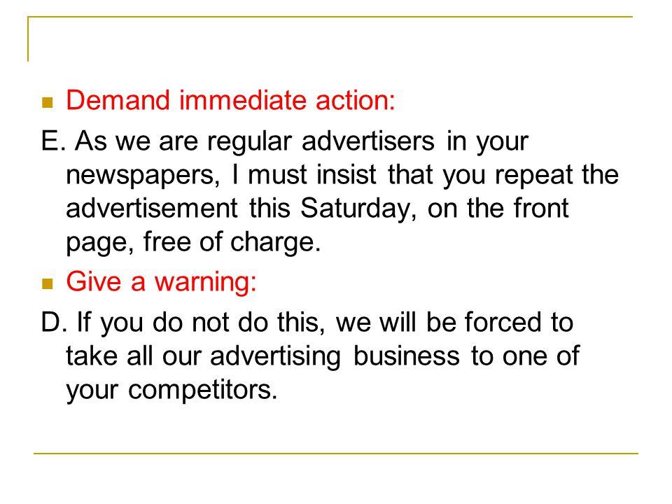 Demand immediate action: