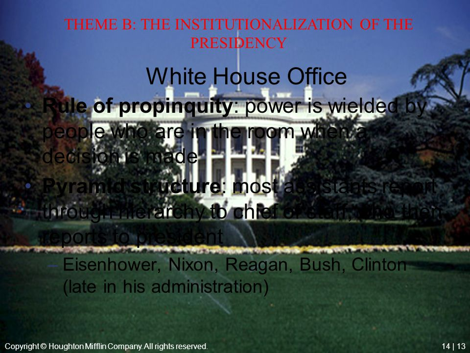 THEME B: THE INSTITUTIONALIZATION OF THE PRESIDENCY