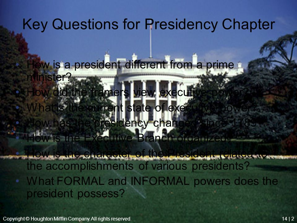 Key Questions for Presidency Chapter