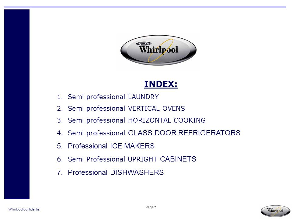 INDEX: Professional ICE MAKERS Professional DISHWASHERS