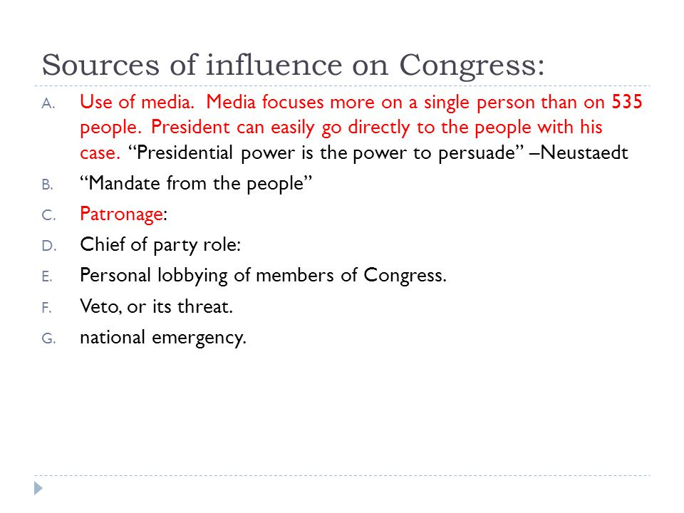 Sources of influence on Congress: