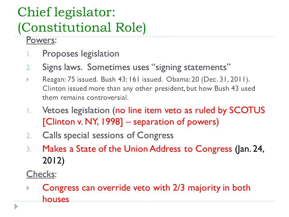 Chief legislator: (Constitutional Role)