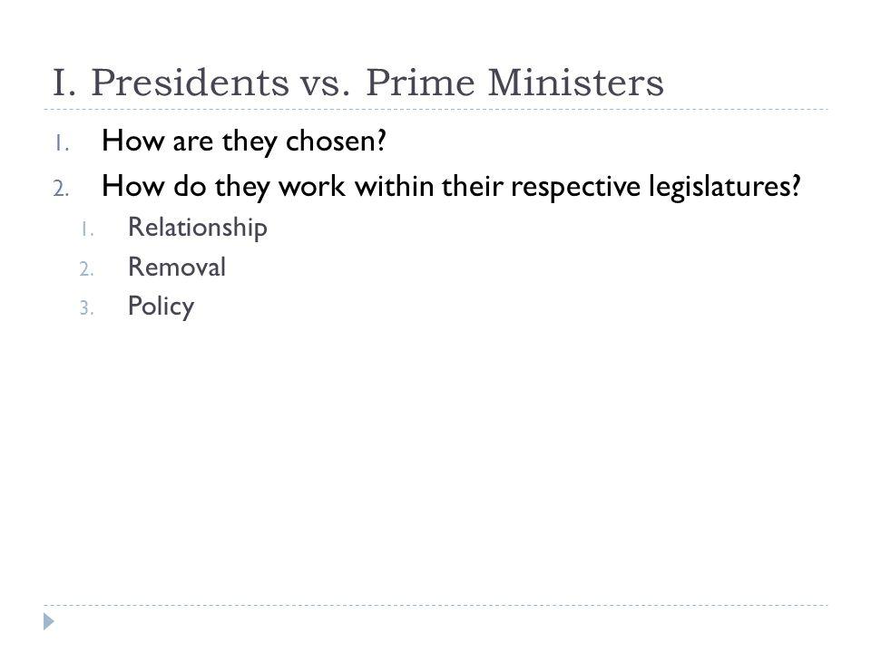 I. Presidents vs. Prime Ministers