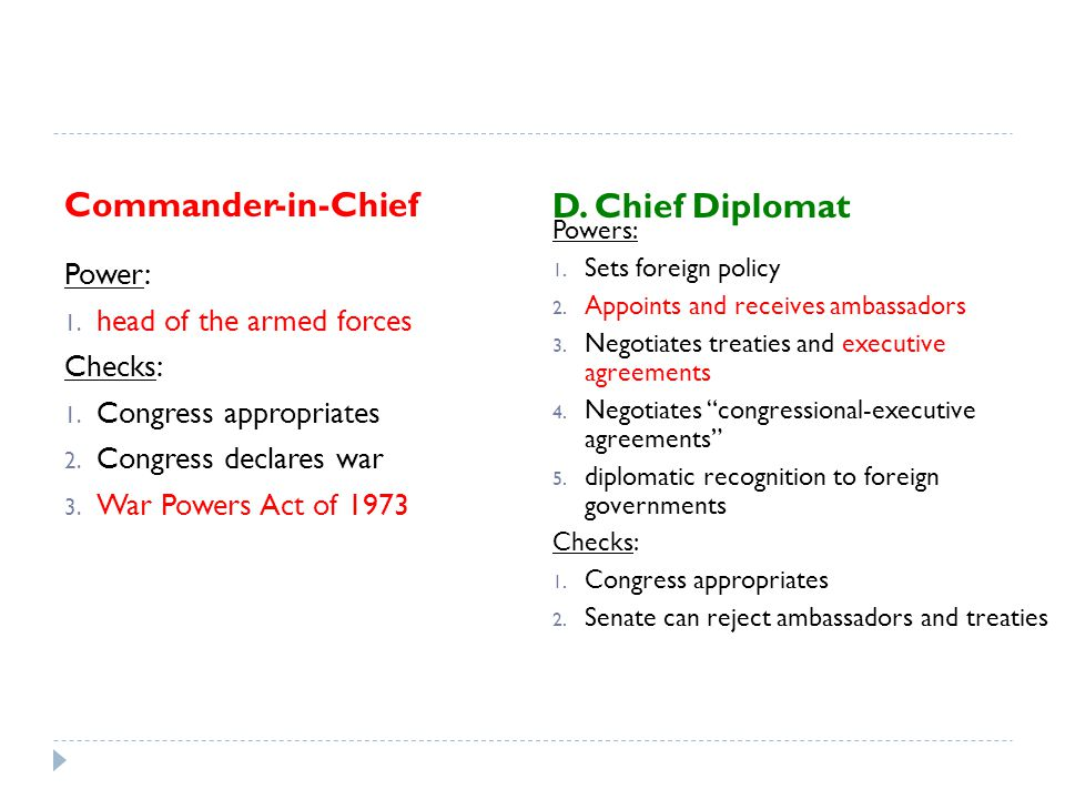 Commander-in-Chief D. Chief Diplomat Power: head of the armed forces
