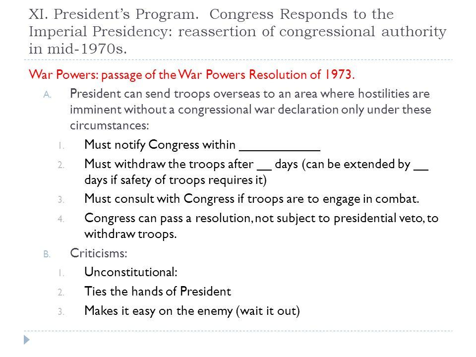 XI. President's Program