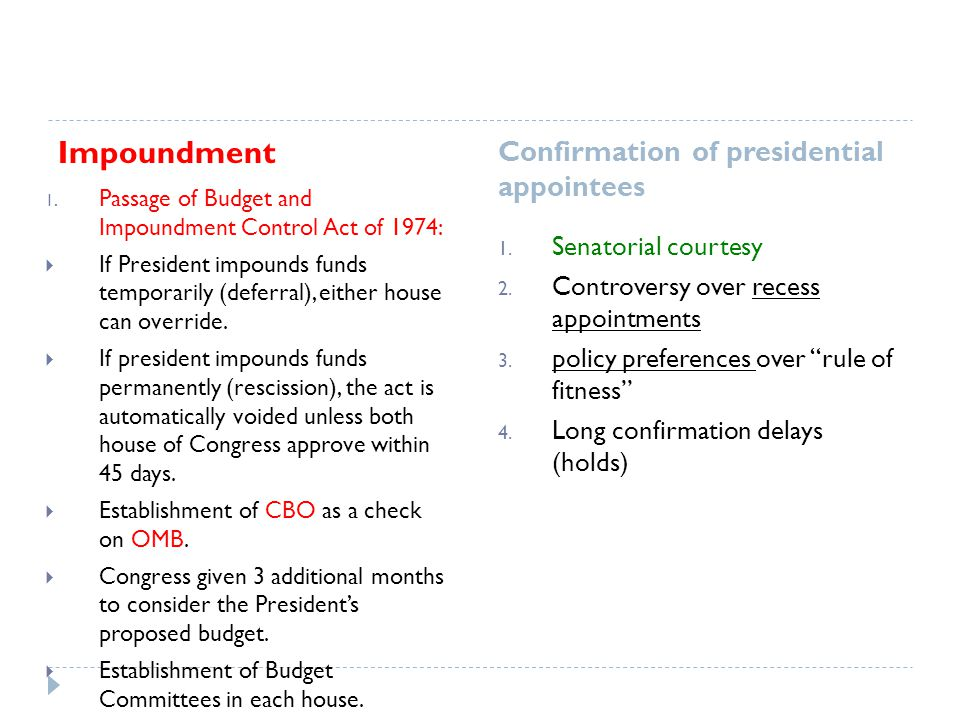 Impoundment Confirmation of presidential appointees