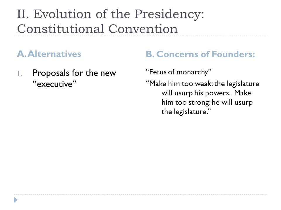 II. Evolution of the Presidency: Constitutional Convention