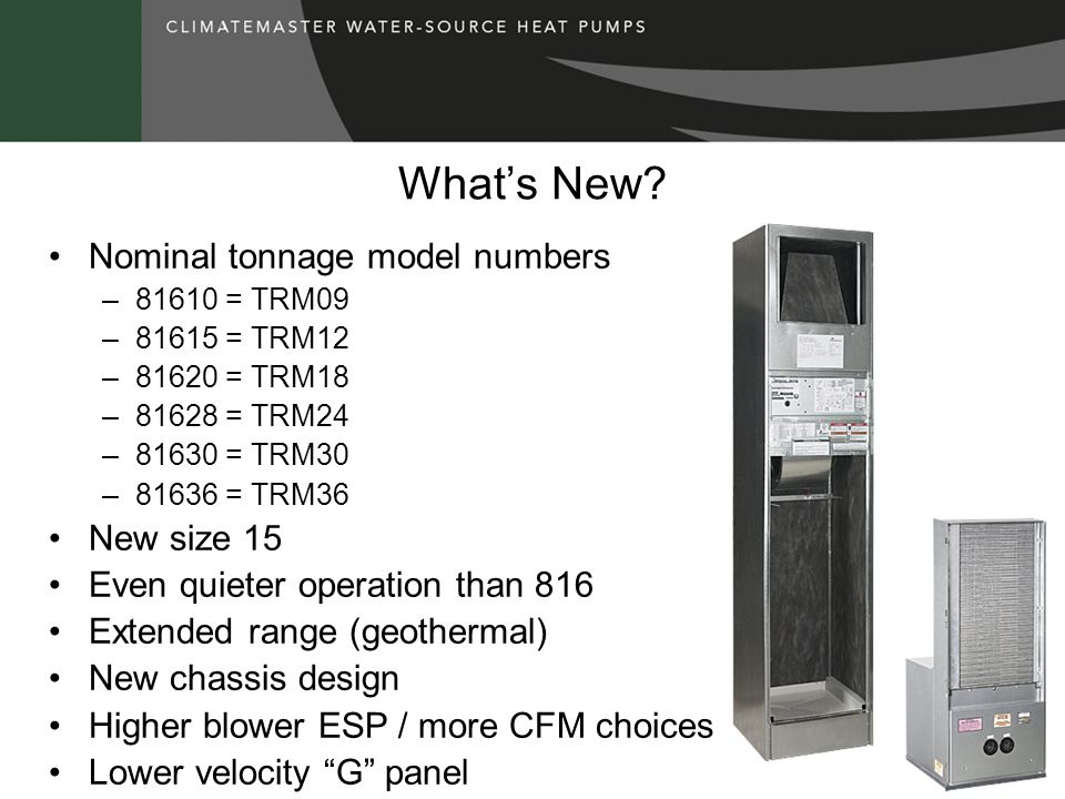 What's New Nominal tonnage model numbers New size 15