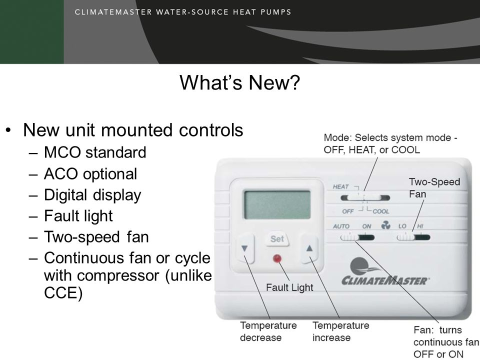What's New New unit mounted controls MCO standard ACO optional