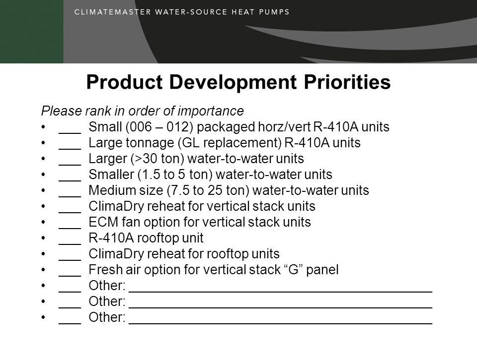 Product Development Priorities