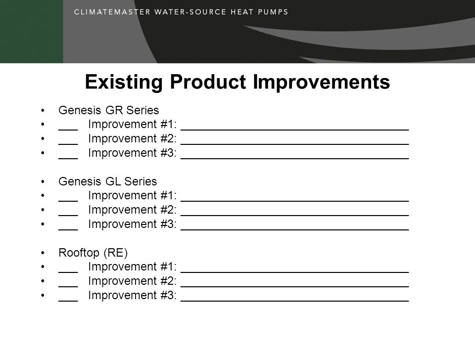 Existing Product Improvements