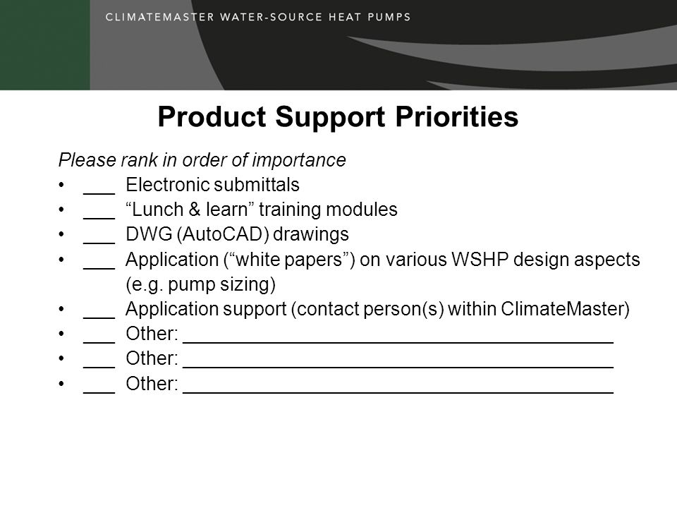 Product Support Priorities