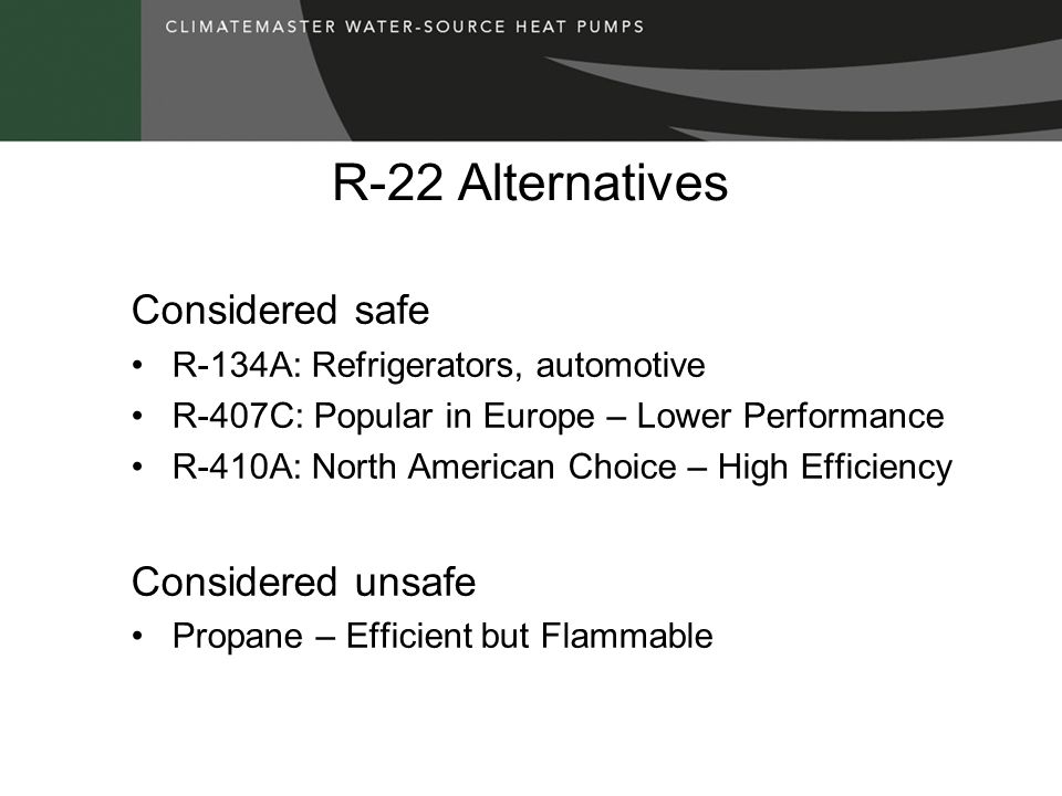 R-22 Alternatives Considered safe Considered unsafe