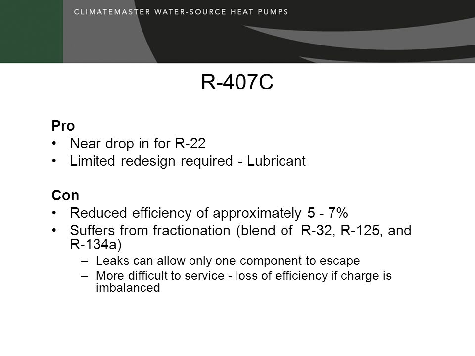 R-407C Pro Near drop in for R-22 Limited redesign required - Lubricant