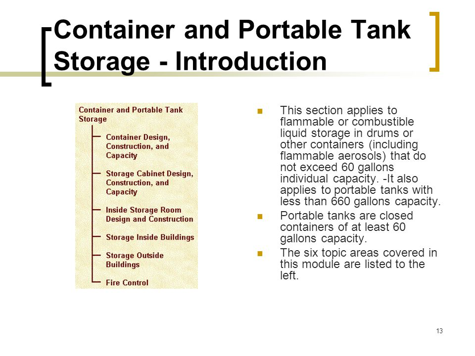 Container and Portable Tank Storage - Introduction