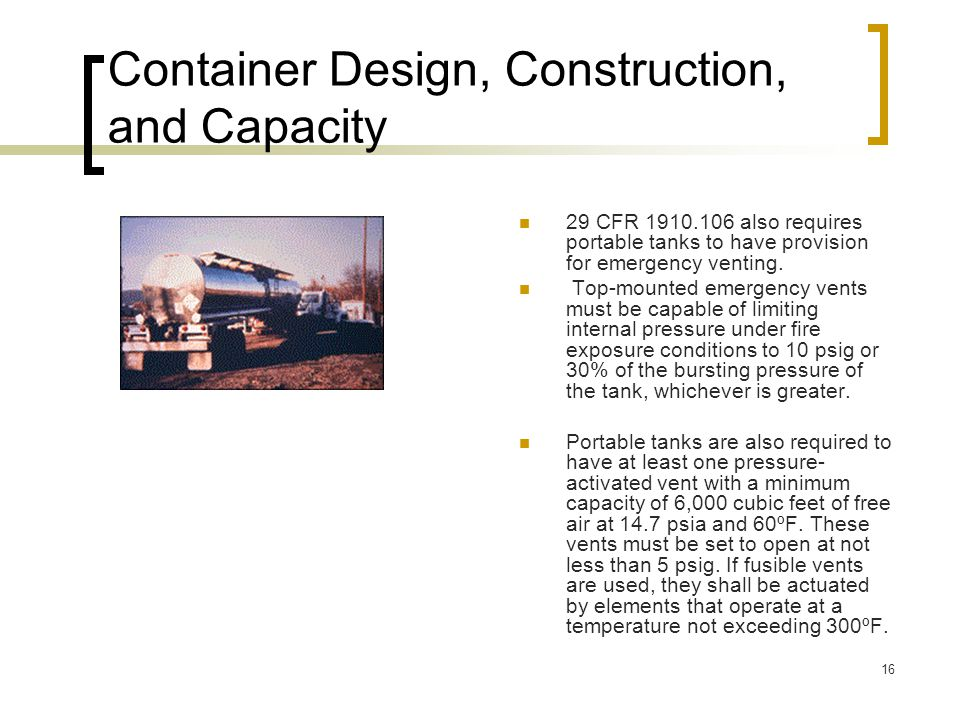 Container Design, Construction, and Capacity
