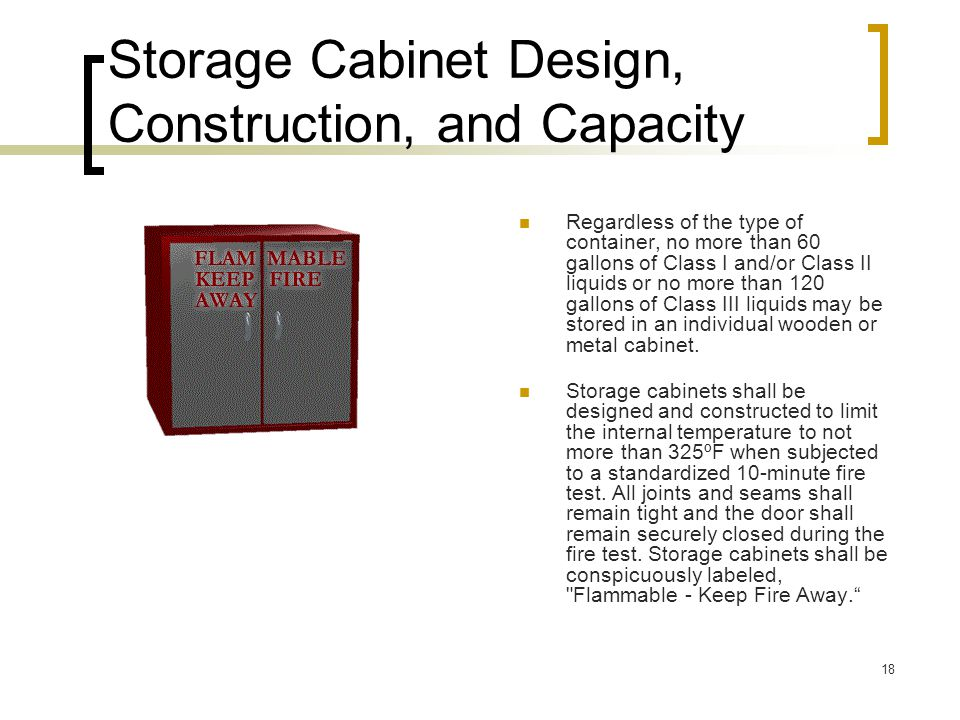 Storage Cabinet Design, Construction, and Capacity