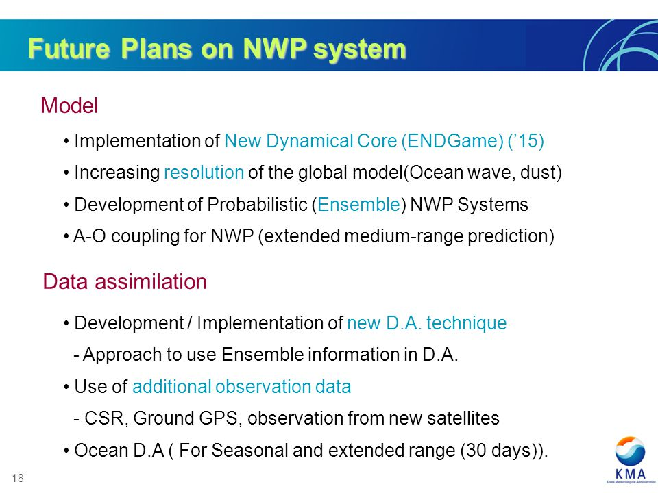 Future Plans on NWP system