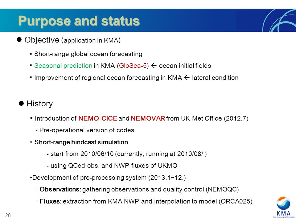 Purpose and status Objective (application in KMA) History