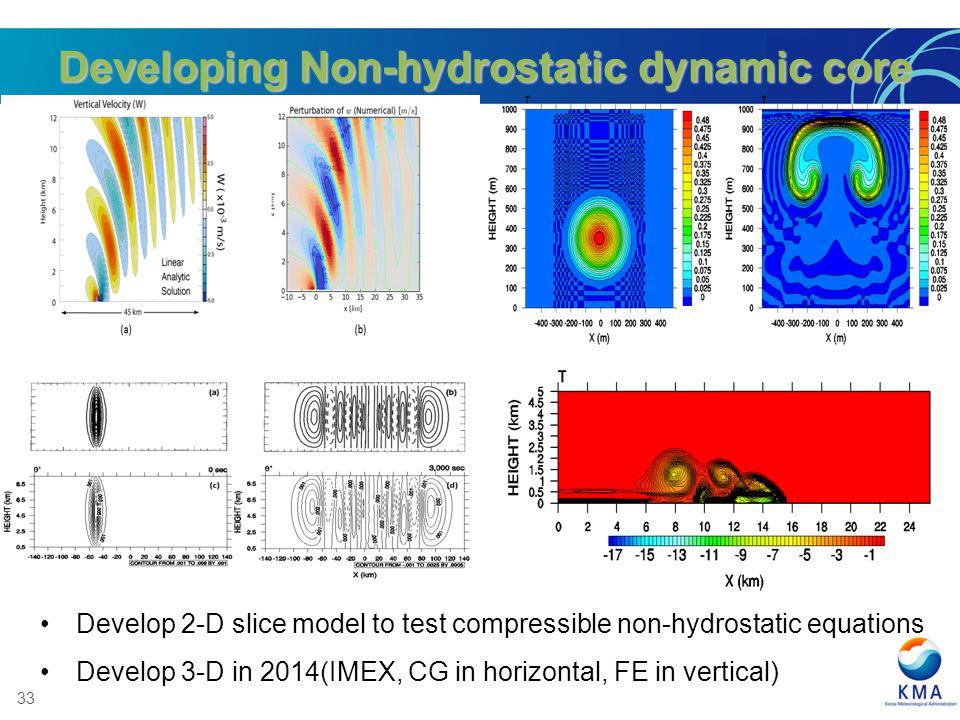 Developing Non-hydrostatic dynamic core