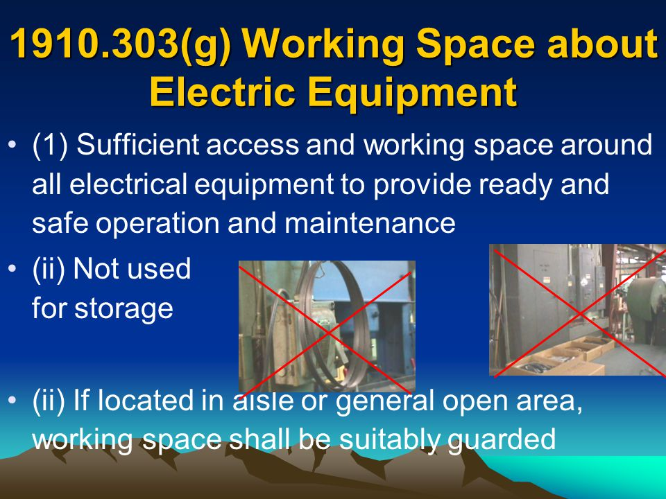 (g) Working Space about Electric Equipment