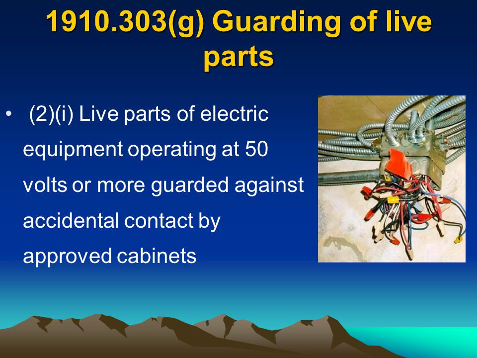 (g) Guarding of live parts